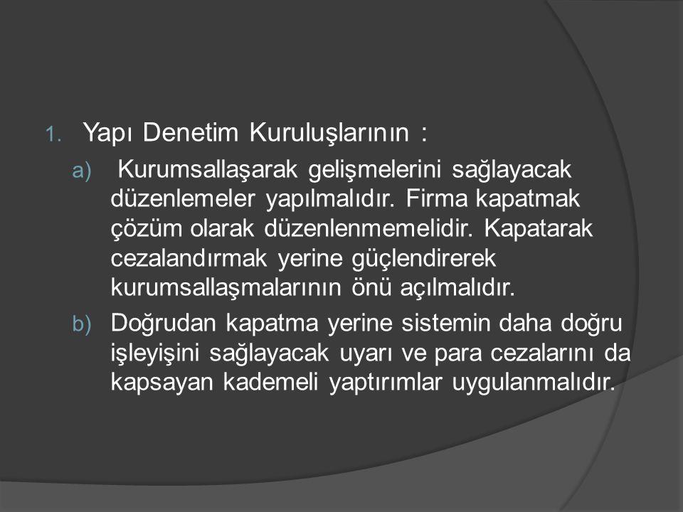 Yapı Denetim Kuruluşlarının :