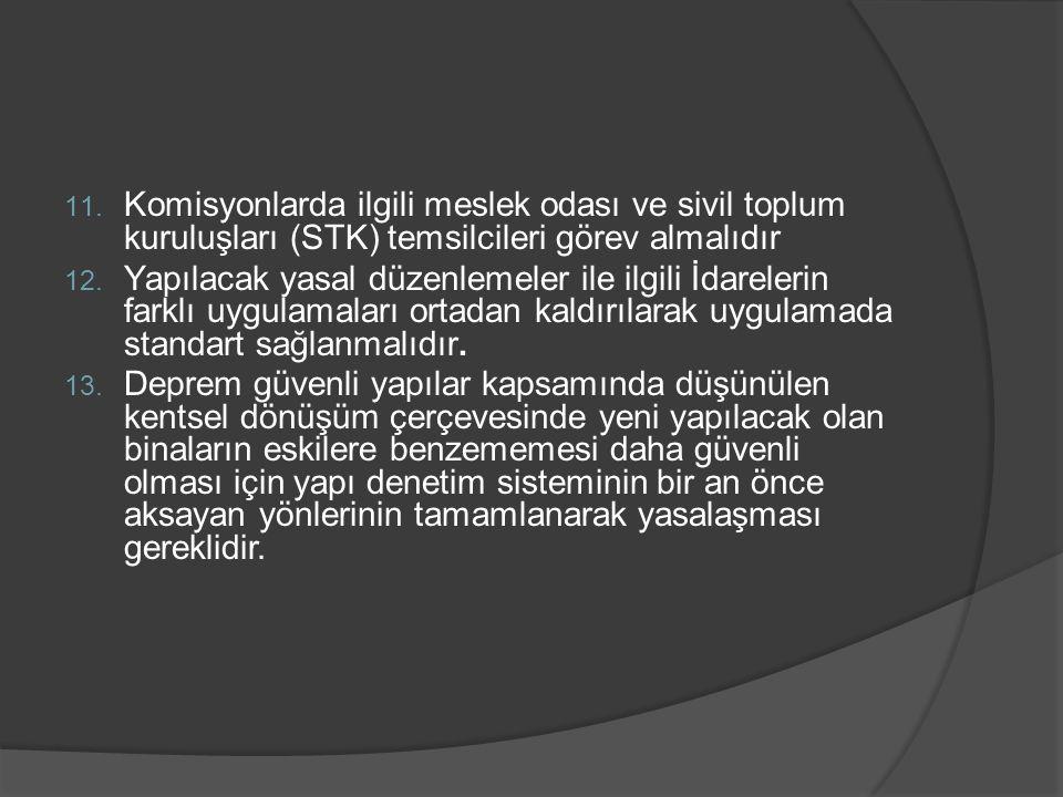 Komisyonlarda ilgili meslek odası ve sivil toplum kuruluşları (STK) temsilcileri görev almalıdır