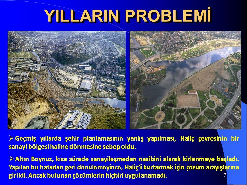 YILLARIN PROBLEMİ Geçmiş yıllarda şehir planlamasının yanlış yapılması, Haliç çevresinin bir sanayi bölgesi haline dönmesine sebep oldu.