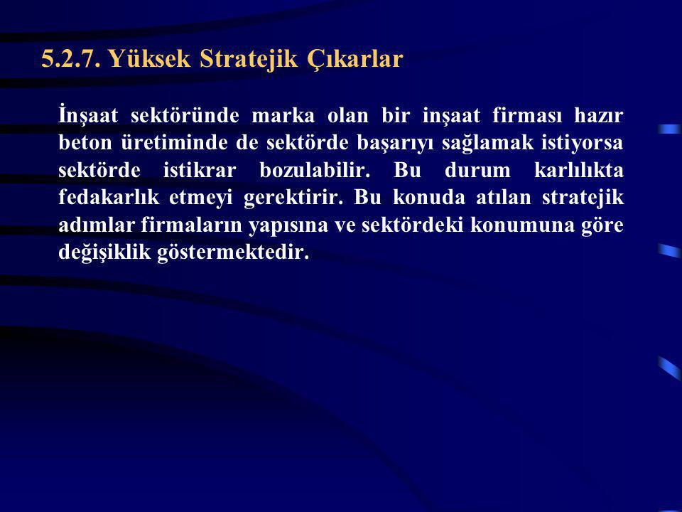 5.2.7. Yüksek Stratejik Çıkarlar