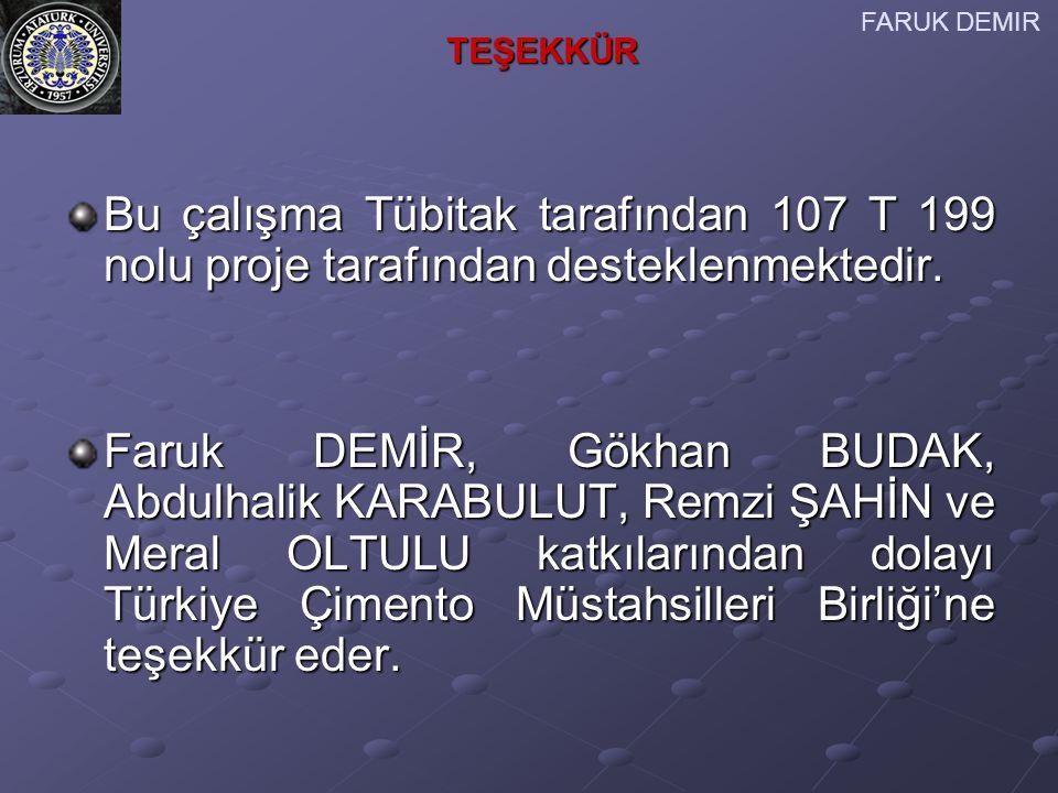 FARUK DEMIR TEŞEKKÜR. Bu çalışma Tübitak tarafından 107 T 199 nolu proje tarafından desteklenmektedir.
