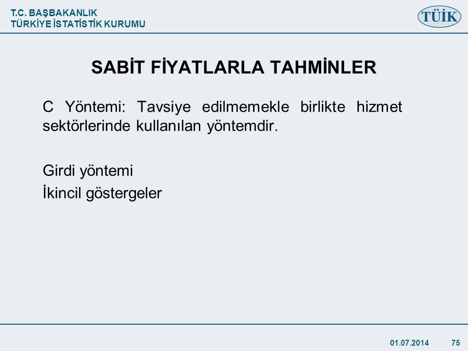 SABİT FİYATLARLA TAHMİNLER