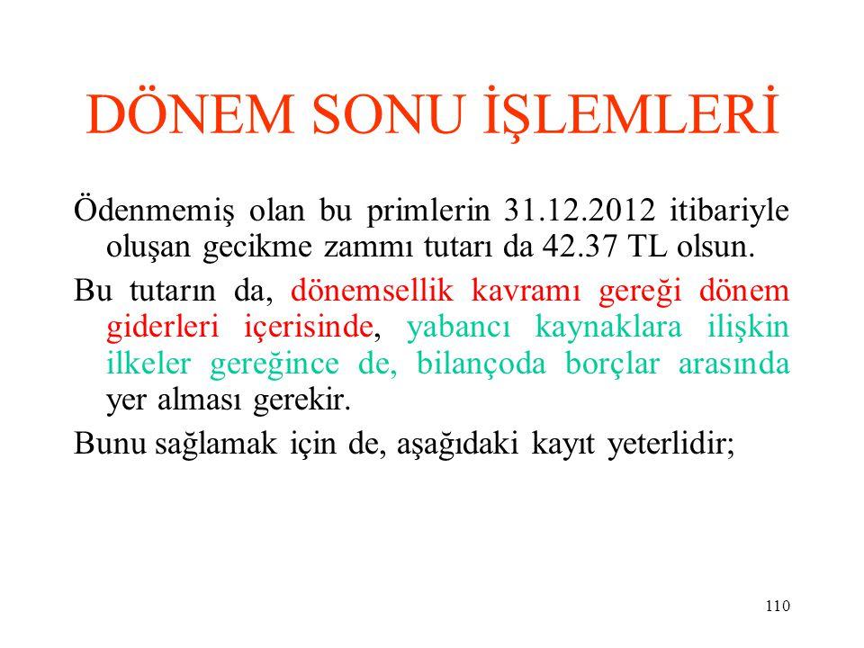 DÖNEM SONU İŞLEMLERİ Ödenmemiş olan bu primlerin 31.12.2012 itibariyle oluşan gecikme zammı tutarı da 42.37 TL olsun.