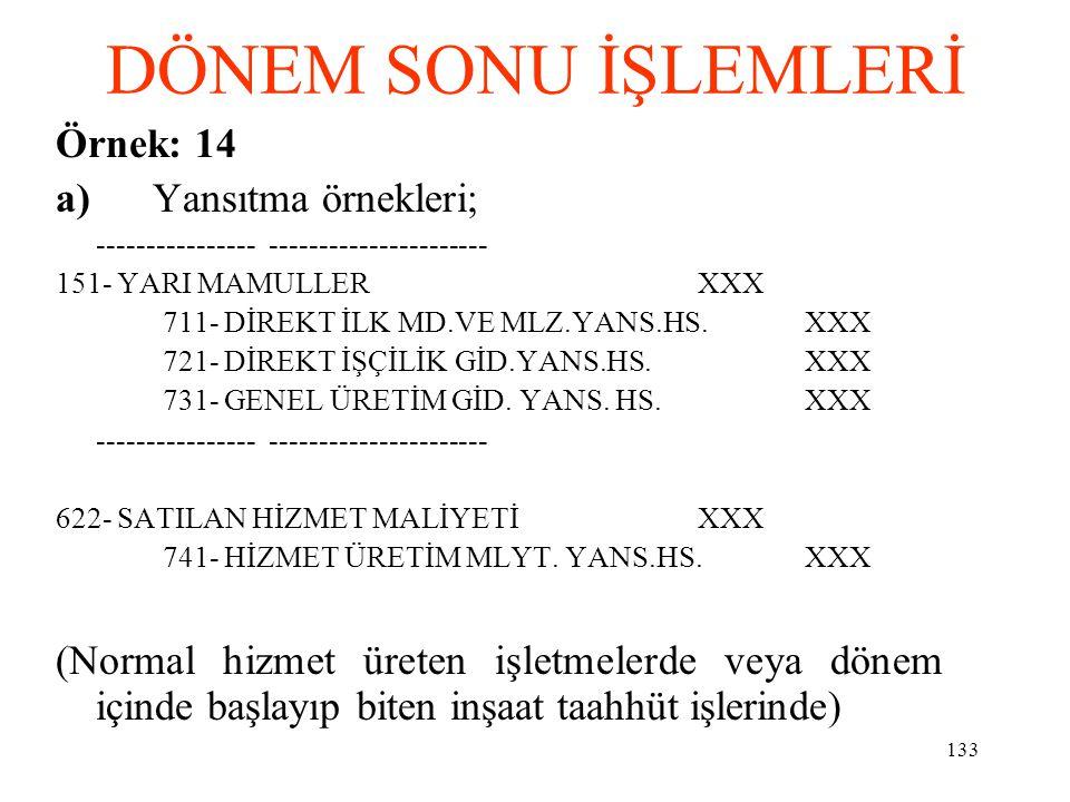 DÖNEM SONU İŞLEMLERİ Örnek: 14 a) Yansıtma örnekleri;