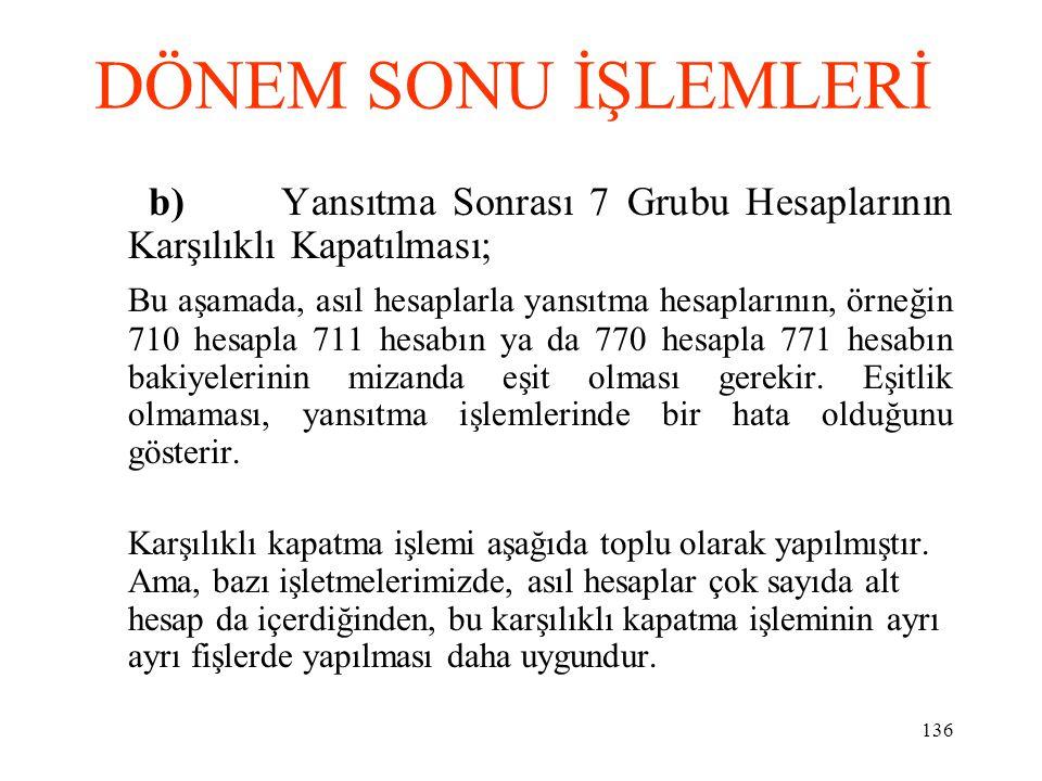 DÖNEM SONU İŞLEMLERİ b) Yansıtma Sonrası 7 Grubu Hesaplarının Karşılıklı Kapatılması;