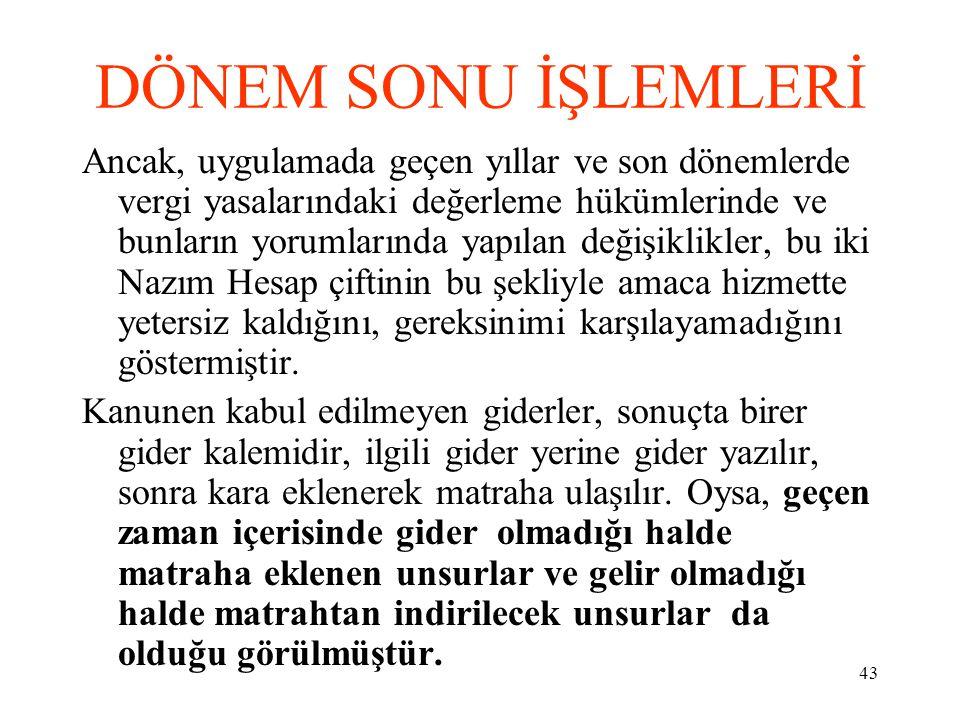 DÖNEM SONU İŞLEMLERİ