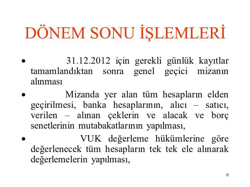 DÖNEM SONU İŞLEMLERİ · 31.12.2012 için gerekli günlük kayıtlar tamamlandıktan sonra genel geçici mizanın alınması.