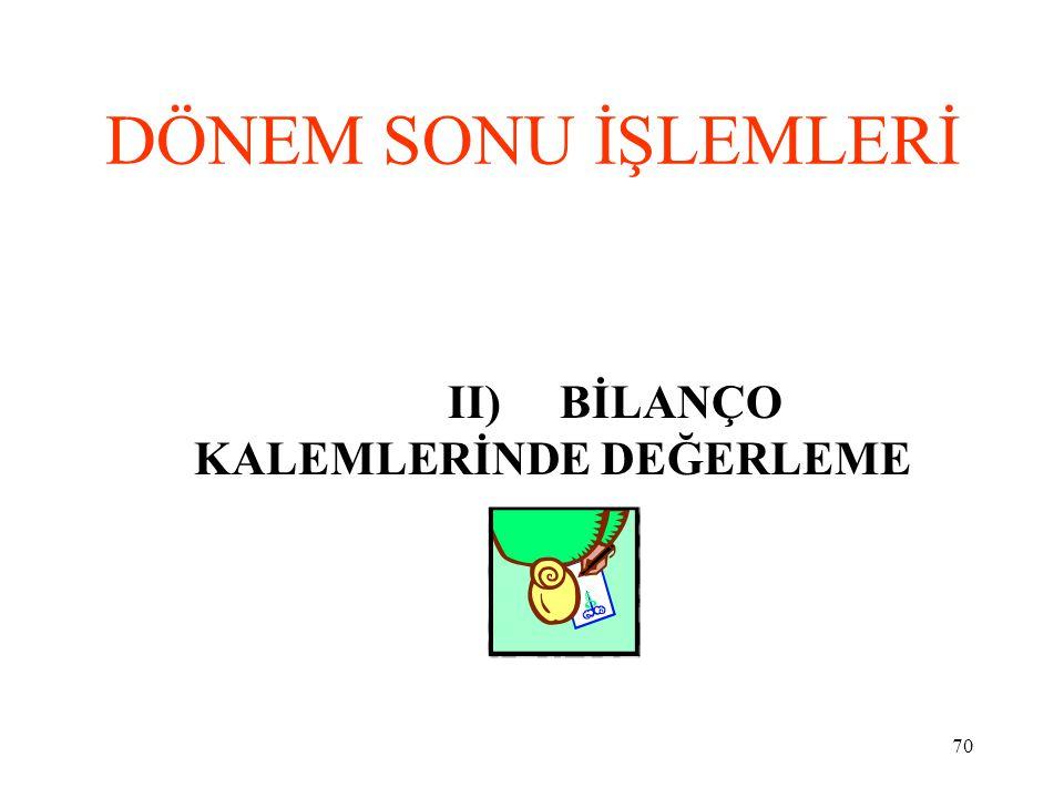 II) BİLANÇO KALEMLERİNDE DEĞERLEME