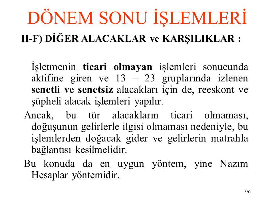 DÖNEM SONU İŞLEMLERİ II-F) DİĞER ALACAKLAR ve KARŞILIKLAR :