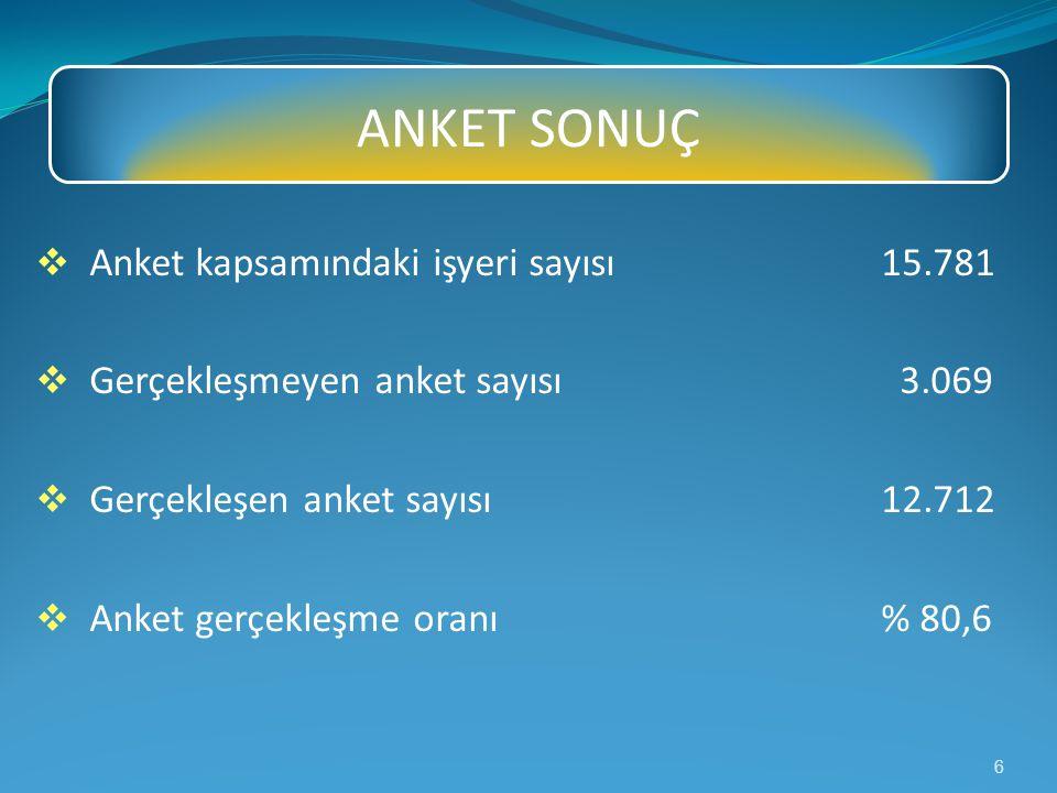 ANKET SONUÇ Anket kapsamındaki işyeri sayısı 15.781