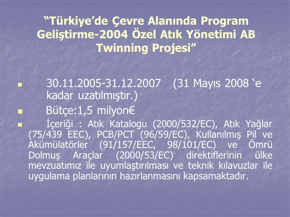 Türkiye'de Çevre Alanında Program Geliştirme-2004 Özel Atık Yönetimi AB Twinning Projesi