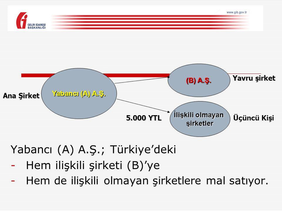 Yabancı (A) A.Ş.; Türkiye'deki Hem ilişkili şirketi (B)'ye