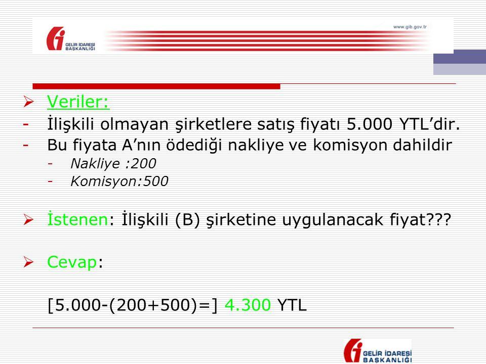 Veriler: İlişkili olmayan şirketlere satış fiyatı 5.000 YTL'dir.