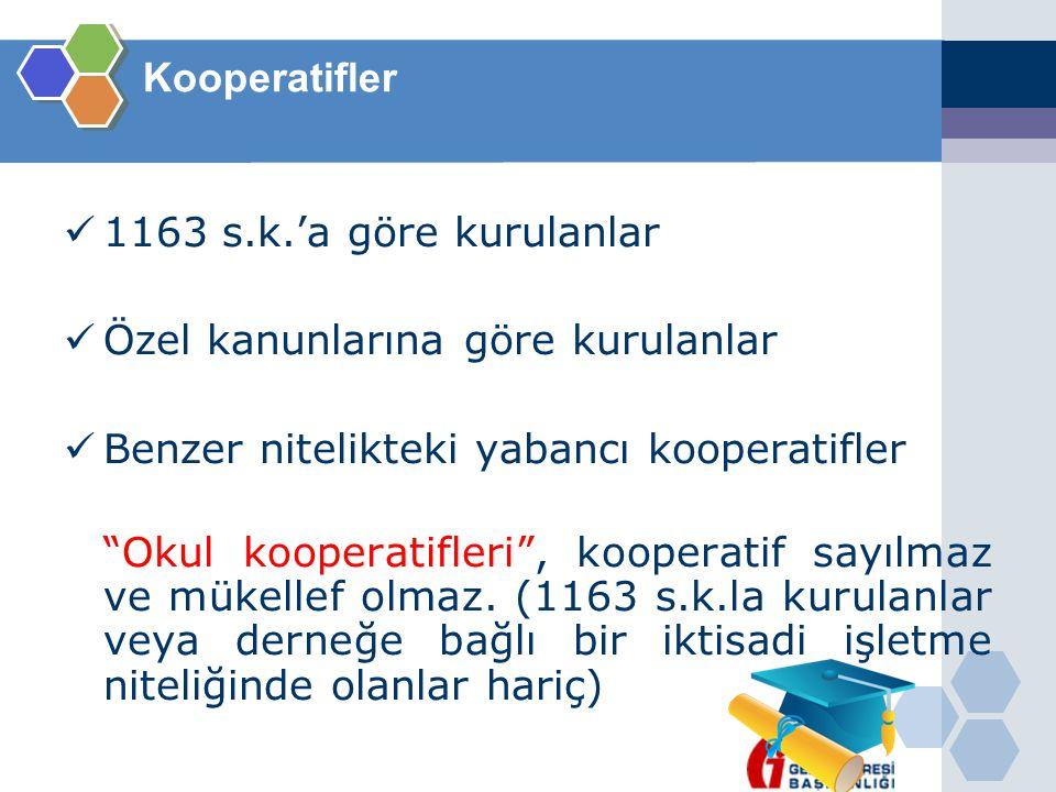 Kooperatifler 1163 s.k.'a göre kurulanlar. Özel kanunlarına göre kurulanlar. Benzer nitelikteki yabancı kooperatifler.