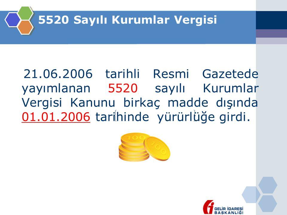 5520 Sayılı Kurumlar Vergisi