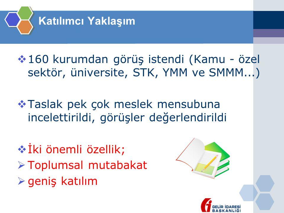 Katılımcı Yaklaşım 160 kurumdan görüş istendi (Kamu - özel sektör, üniversite, STK, YMM ve SMMM...)
