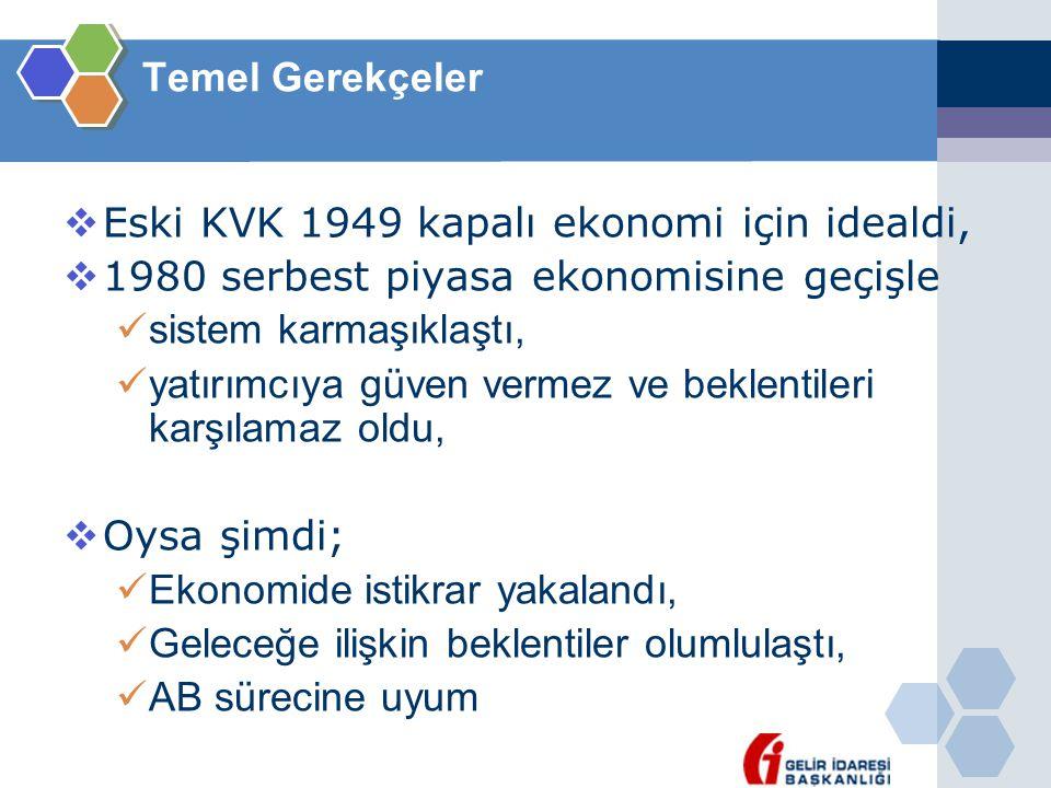 Temel Gerekçeler Eski KVK 1949 kapalı ekonomi için idealdi, 1980 serbest piyasa ekonomisine geçişle.