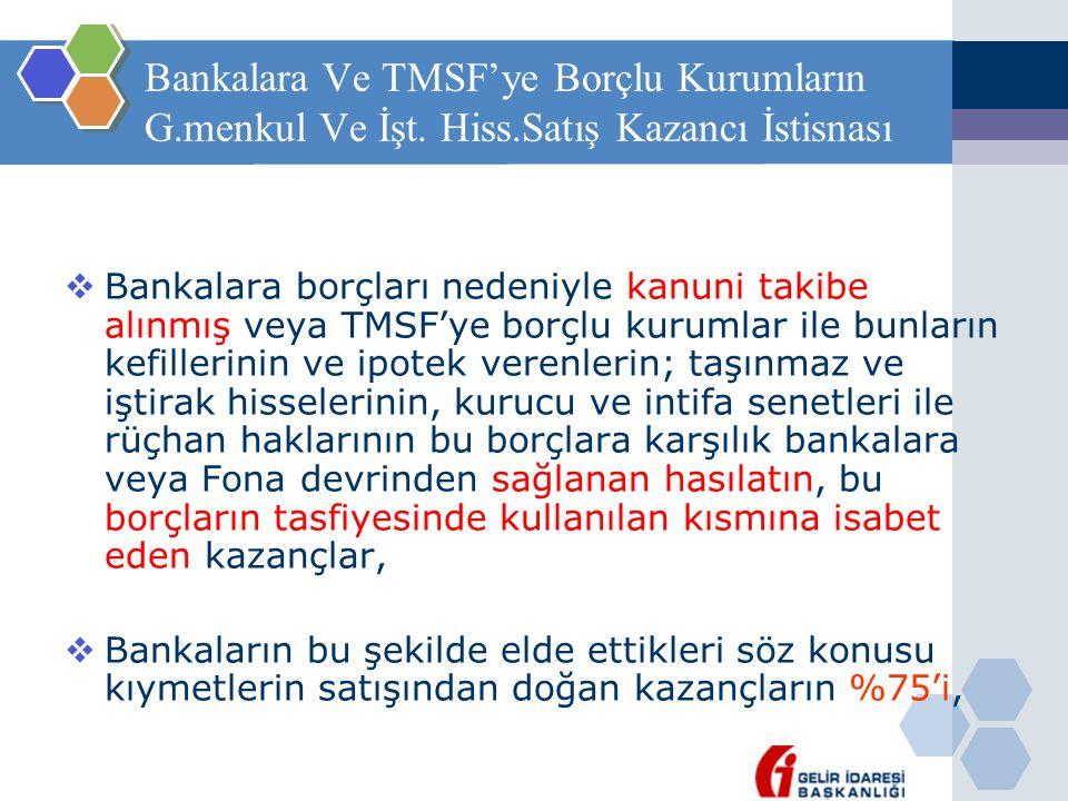 Bankalara Ve TMSF'ye Borçlu Kurumların G. menkul Ve İşt. Hiss