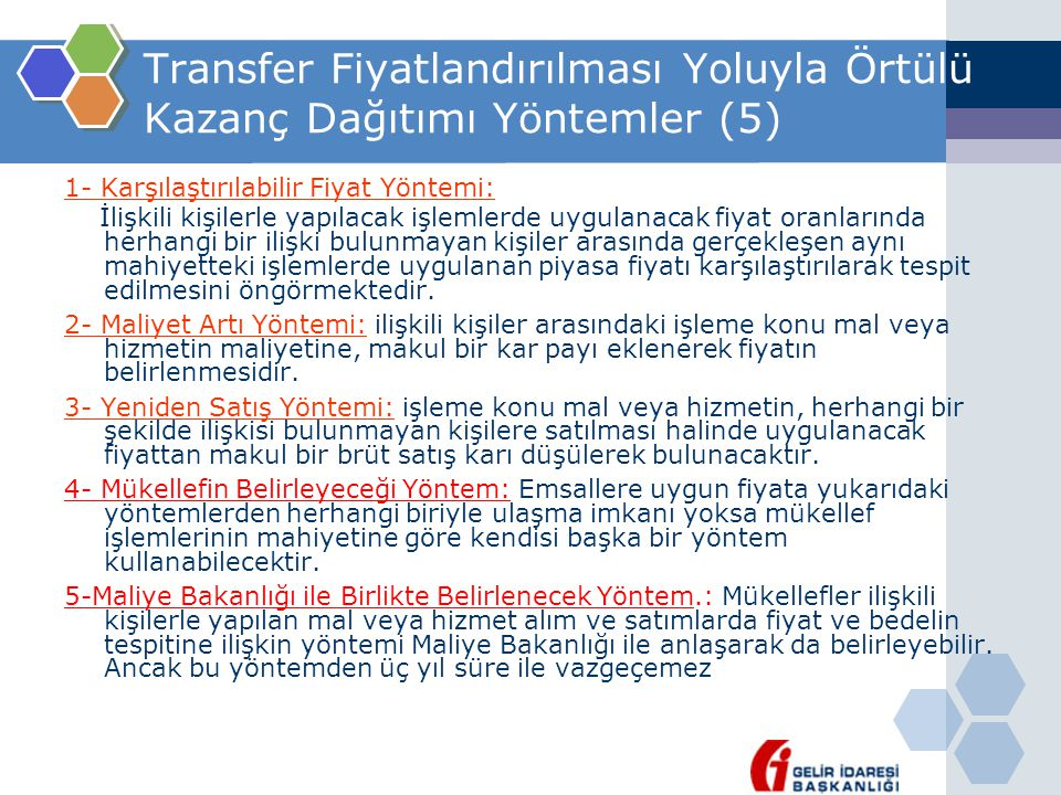 Transfer Fiyatlandırılması Yoluyla Örtülü Kazanç Dağıtımı Yöntemler (5)