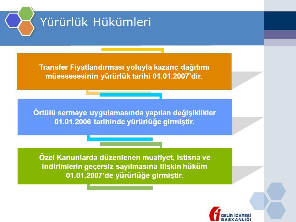 Yürürlük Hükümleri Transfer Fiyatlandırması yoluyla kazanç dağıtımı müessesesinin yürürlük tarihi 01.01.2007'dir.