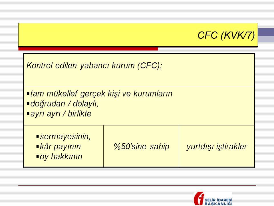 CFC (KVK/7) Kontrol edilen yabancı kurum (CFC);