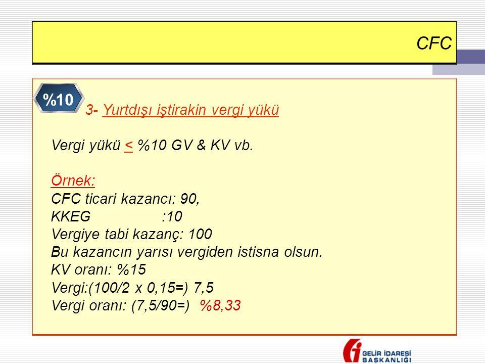CFC %10 Vergi yükü < %10 GV & KV vb. Örnek: CFC ticari kazancı: 90,