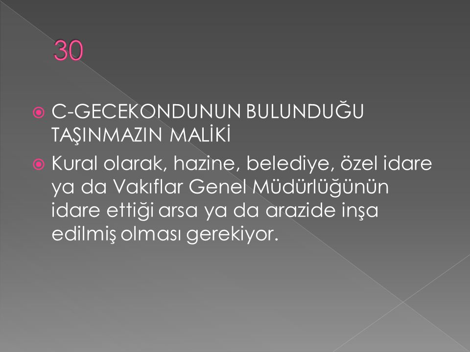 30 C-GECEKONDUNUN BULUNDUĞU TAŞINMAZIN MALİKİ