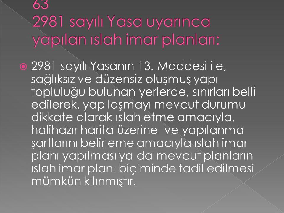 63 2981 sayılı Yasa uyarınca yapılan ıslah imar planları: