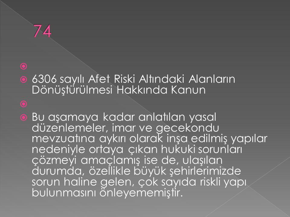 74 6306 sayılı Afet Riski Altındaki Alanların Dönüştürülmesi Hakkında Kanun.
