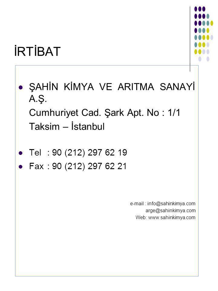 İRTİBAT ŞAHİN KİMYA VE ARITMA SANAYİ A.Ş.