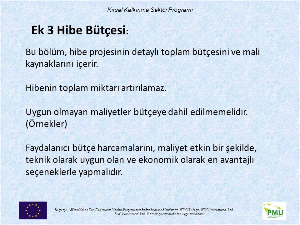 Nisan 17 Ek 3 Hibe Bütçesi:
