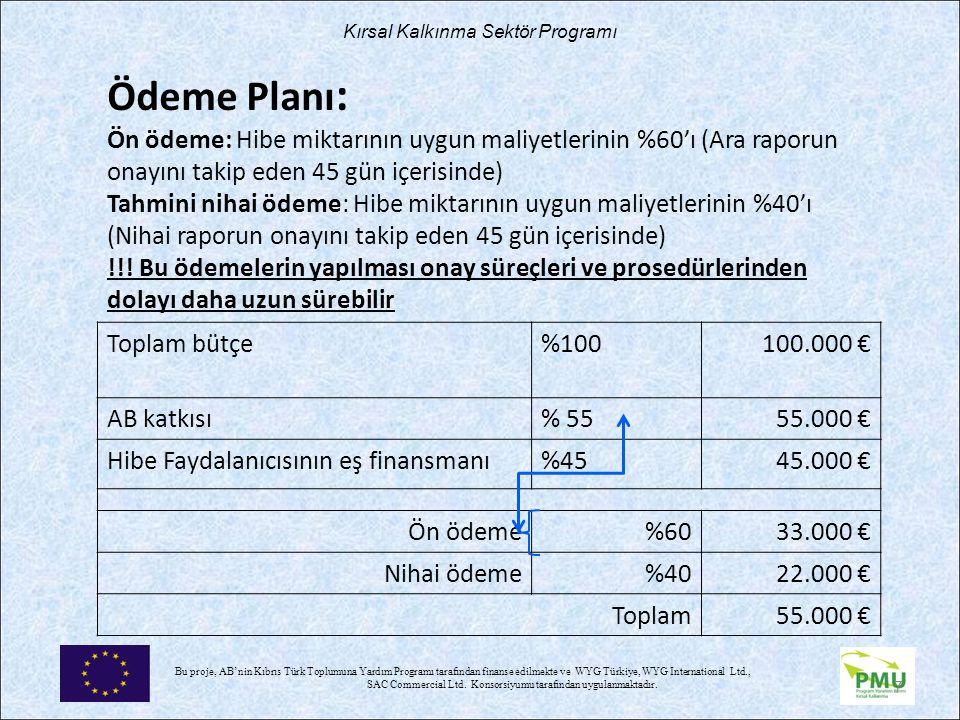 Nisan 17 Ödeme Planı: Ön ödeme: Hibe miktarının uygun maliyetlerinin %60'ı (Ara raporun onayını takip eden 45 gün içerisinde)