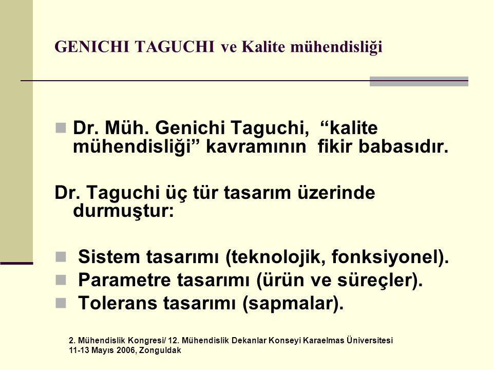 GENICHI TAGUCHI ve Kalite mühendisliği