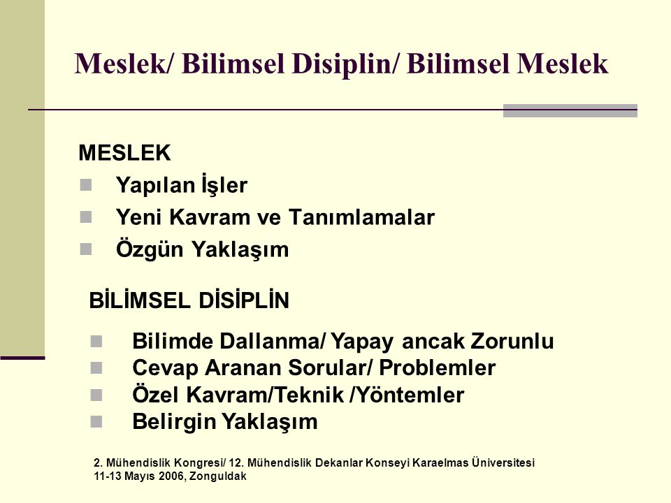 Meslek/ Bilimsel Disiplin/ Bilimsel Meslek