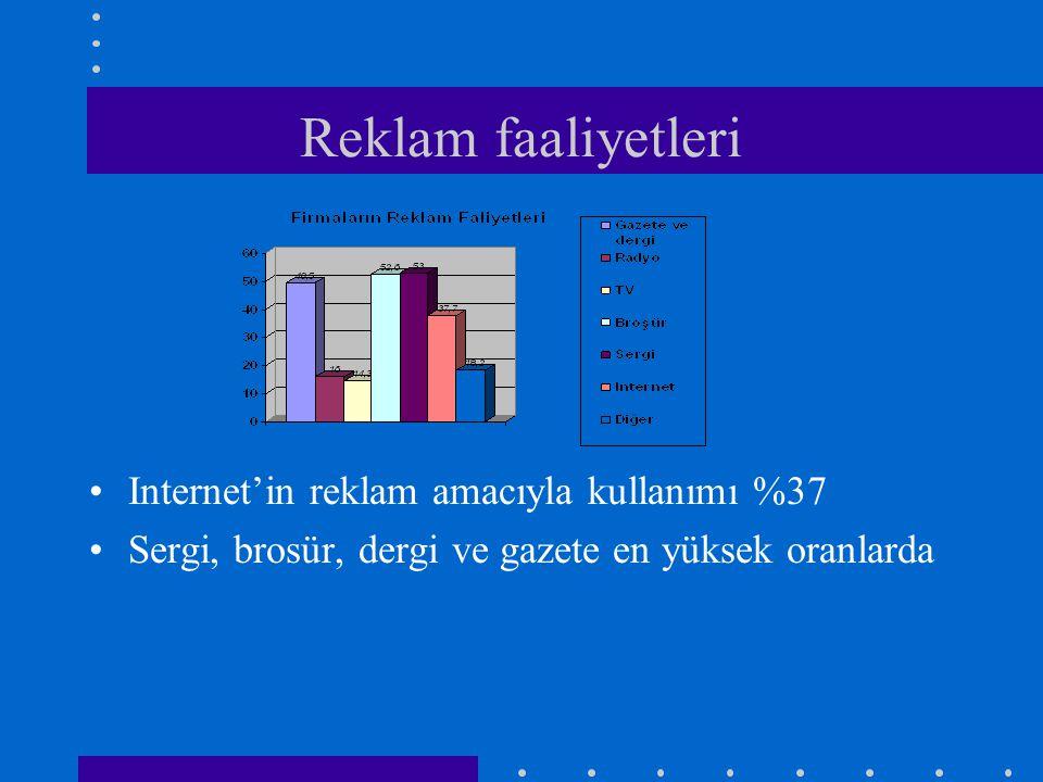 Reklam faaliyetleri Internet'in reklam amacıyla kullanımı %37