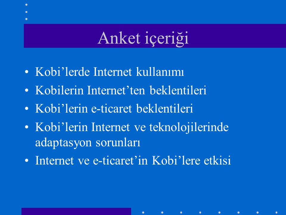 Anket içeriği Kobi'lerde Internet kullanımı
