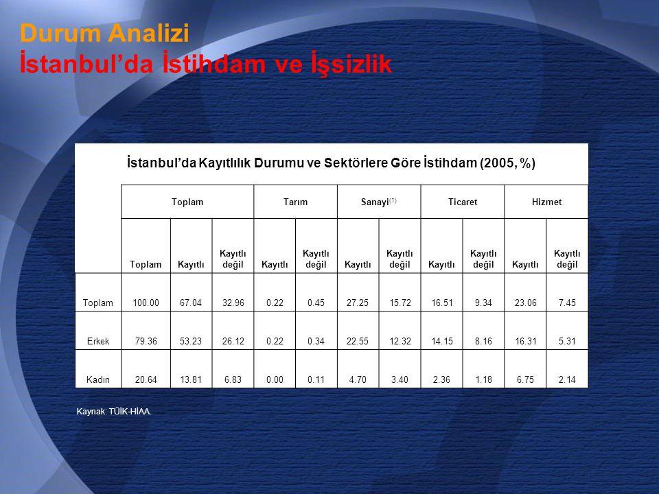 İstanbul'da Kayıtlılık Durumu ve Sektörlere Göre İstihdam (2005, %)