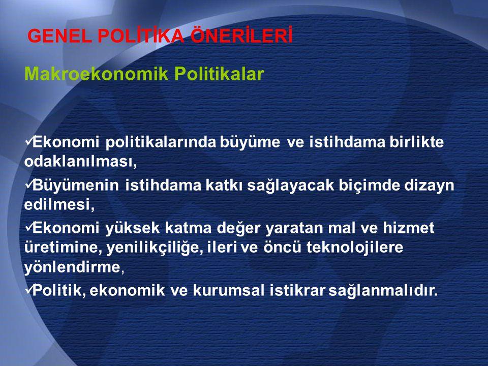GENEL POLİTİKA ÖNERİLERİ