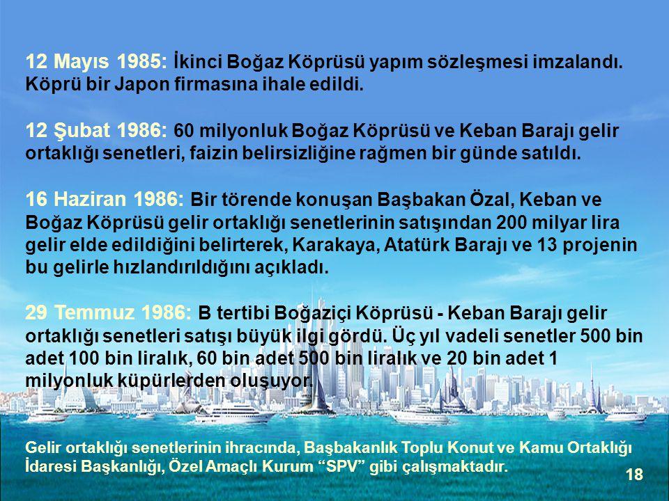 12 Mayıs 1985: İkinci Boğaz Köprüsü yapım sözleşmesi imzalandı
