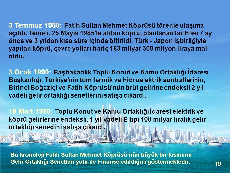 3 Temmuz 1988: Fatih Sultan Mehmet Köprüsü törenle ulaşıma açıldı