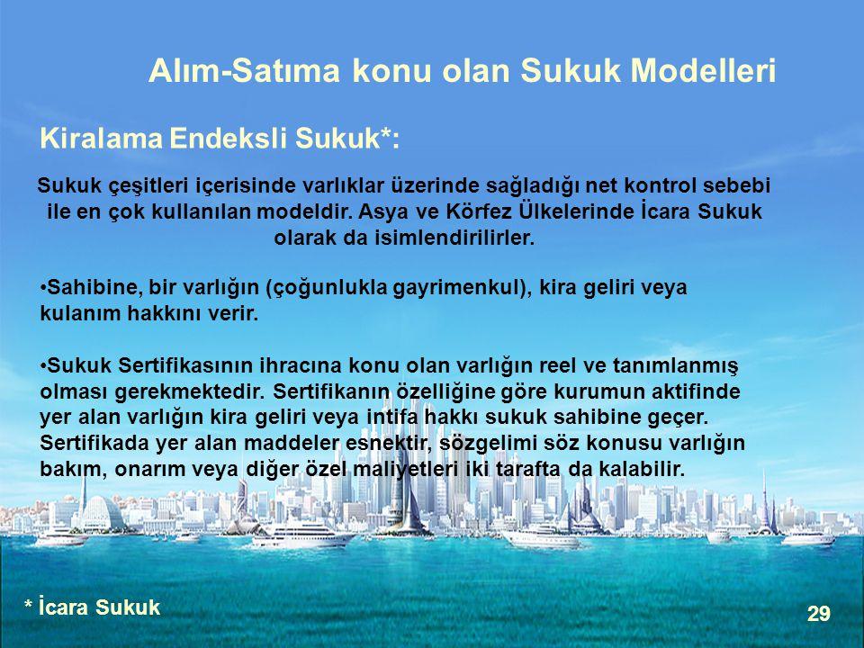 Alım-Satıma konu olan Sukuk Modelleri
