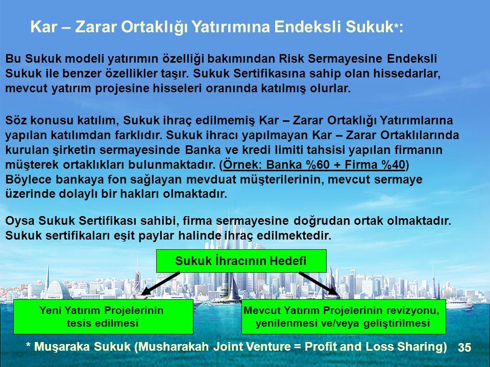 Kar – Zarar Ortaklığı Yatırımına Endeksli Sukuk*: