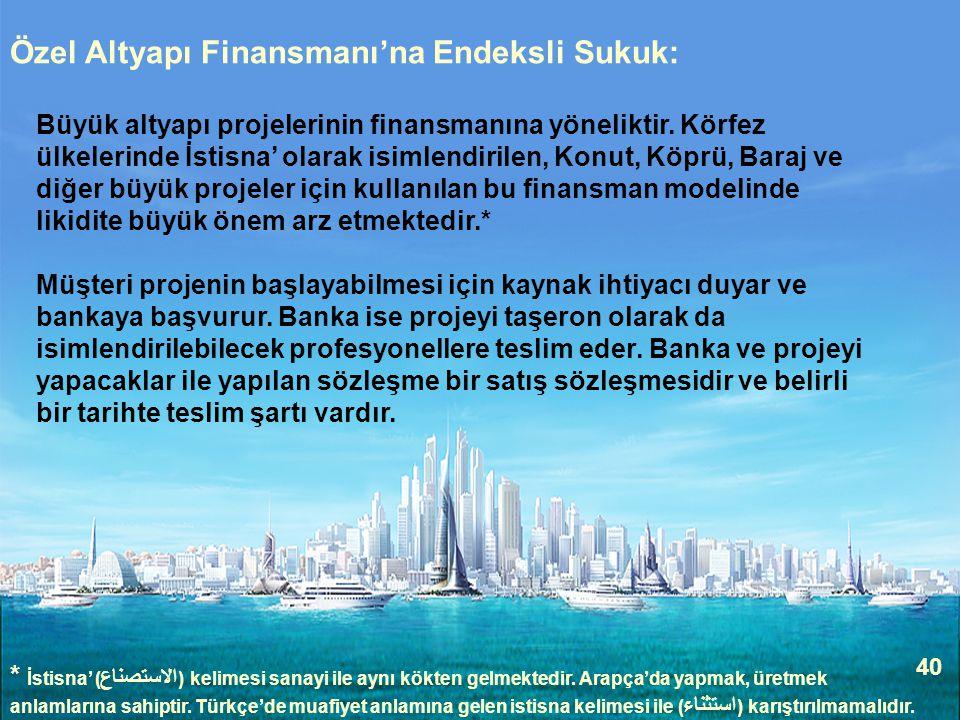 Özel Altyapı Finansmanı'na Endeksli Sukuk: