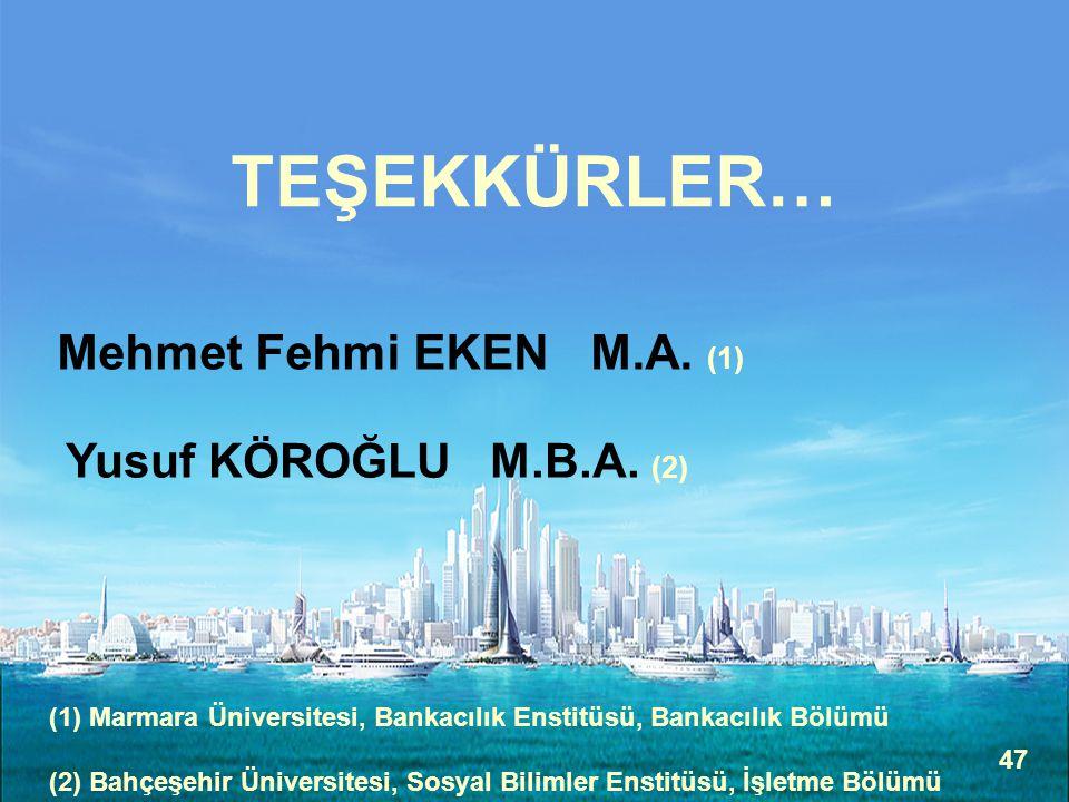 TEŞEKKÜRLER… Mehmet Fehmi EKEN M.A. (1) Yusuf KÖROĞLU M.B.A. (2)