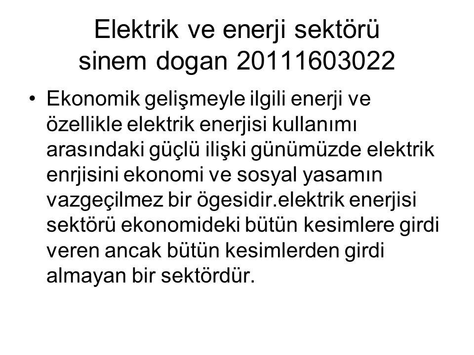 Elektrik ve enerji sektörü sinem dogan 20111603022