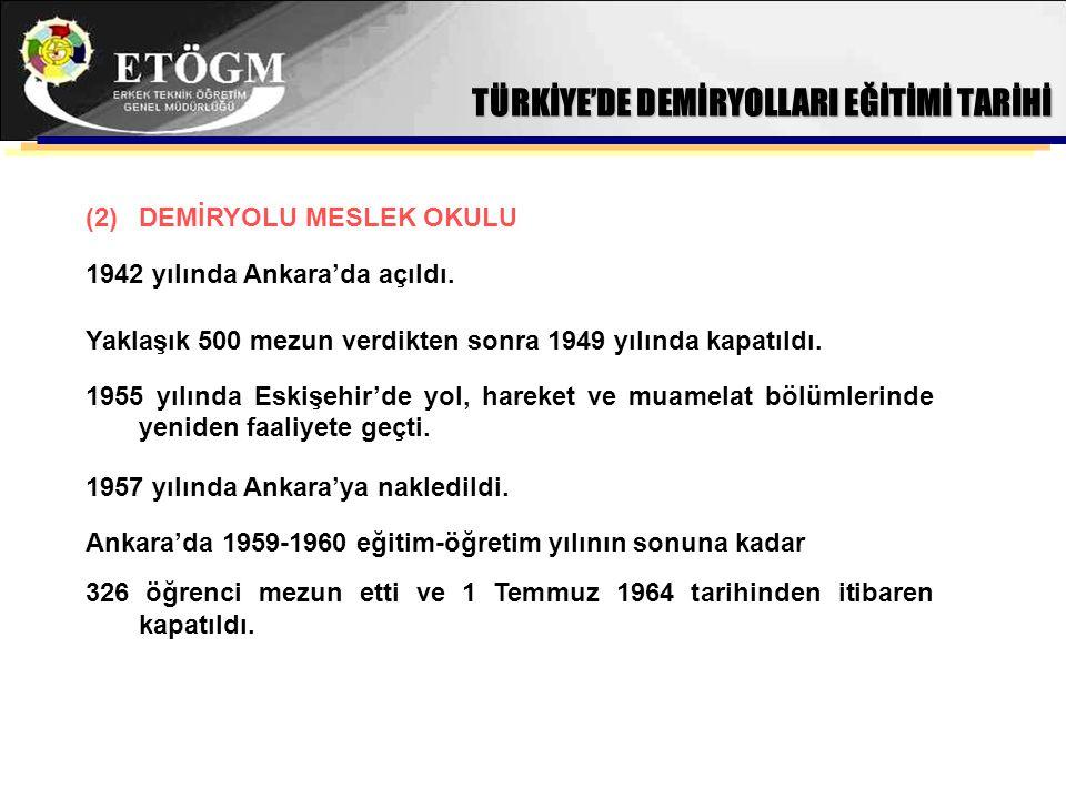 TÜRKİYE'DE DEMİRYOLLARI EĞİTİMİ TARİHİ