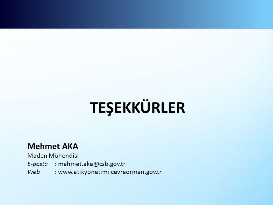TEŞEKKÜRLER Mehmet AKA Maden Mühendisi E-posta : mehmet.aka@csb.gov.tr