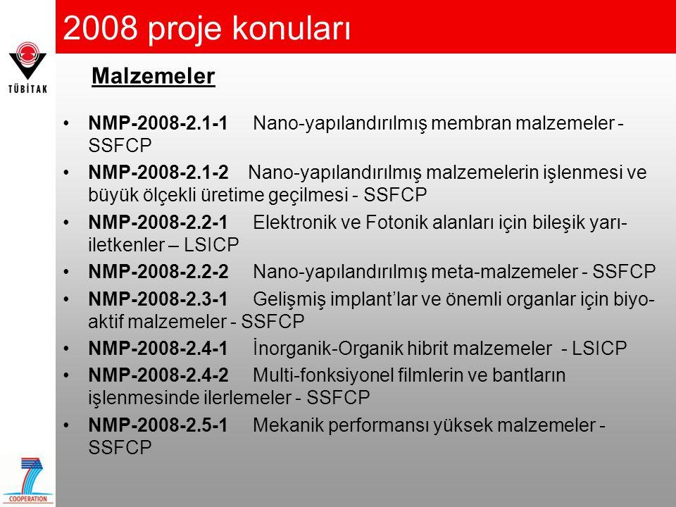 2008 proje konuları Malzemeler