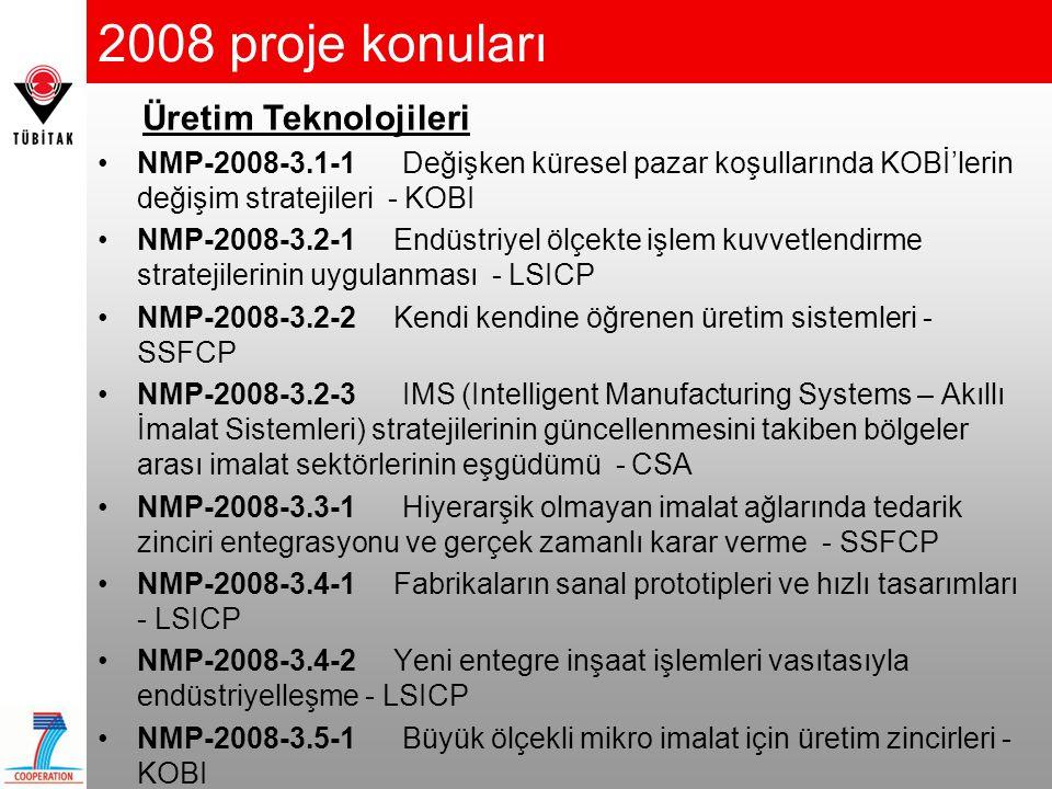 2008 proje konuları Üretim Teknolojileri
