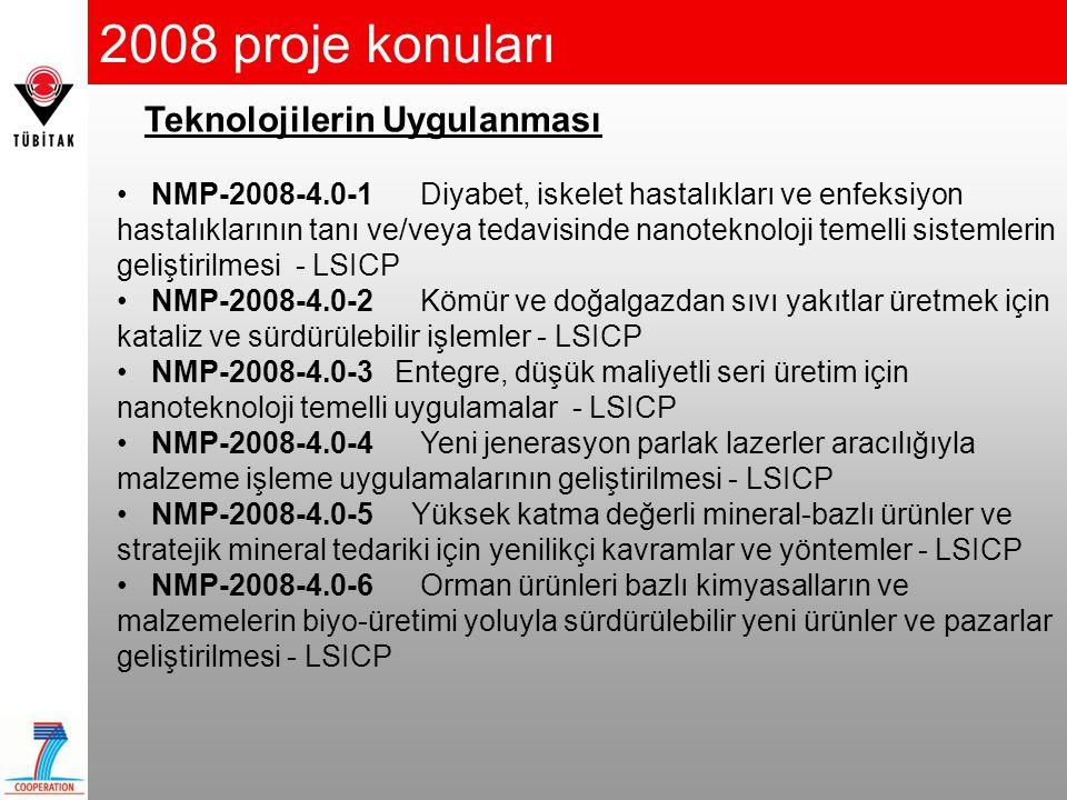 2008 proje konuları Teknolojilerin Uygulanması